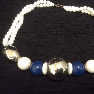Women's Vintage Necklace. Super Chunky Beads. Blue